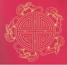 Le symbole longévité entouré de 5 chauves-souris