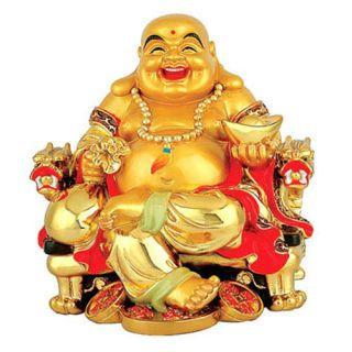 Un bouddha rieur de la fortune richement décoré
