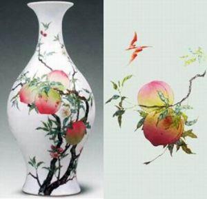 Vase chinois à peinture de pêche
